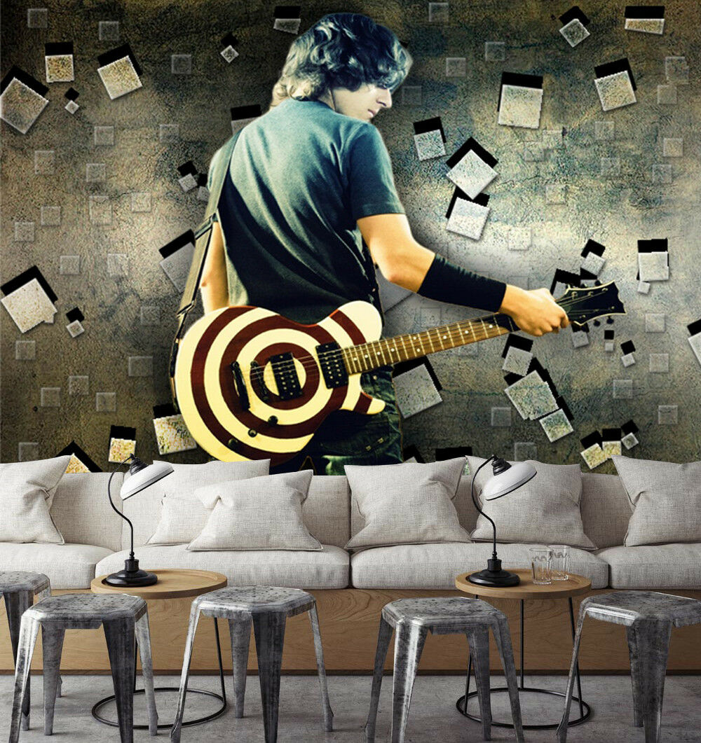 3D Guitar Mna Paint Wallpaper Murals Wall Print Wallpaper Mural AJ WALL AU Kyra