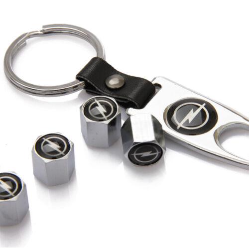 Car Valve Cap Opel Logo Silver Wheel Tire Stem Air Dust Auto Tyre Cover+Keychain