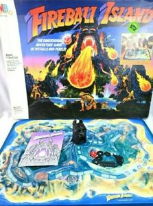 Vintage Milton Bradley Fireball Island 3D Game INCOMPLETE Box Board Some Pieces