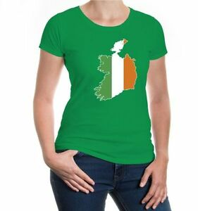 Damen-Kurzarm-Girlie-T-Shirt-Irland-Shape-Ireland-Fahne-Flagge-flag-Reise-travel