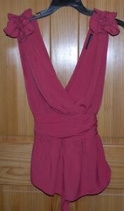 FRENCH-CONNECTION-Womens-Rose-Mauve-Halter-Style-Tank-Top-Shirt-SZ-10-Tie-Back