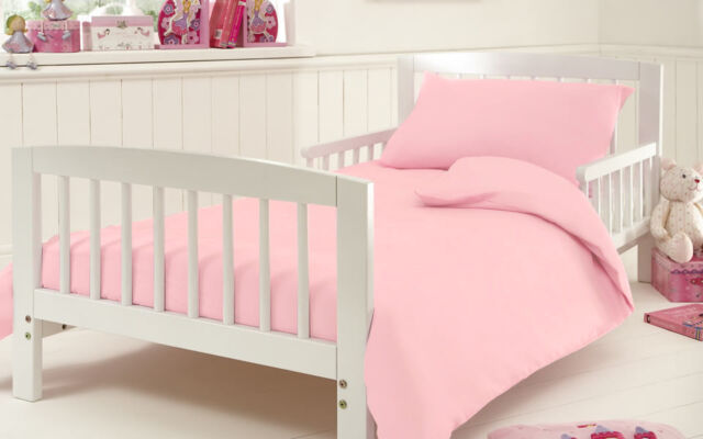 100% Egyptian Cotton 200TC Junior Cot Bed Duvet/Quilt Cover With Pillow Case