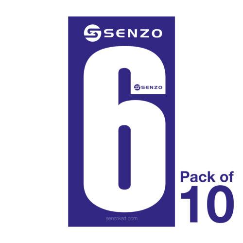 6 Nombre pack de 10 Blanc Sur Bleu Senzo Go Kart KARTING Course Racing