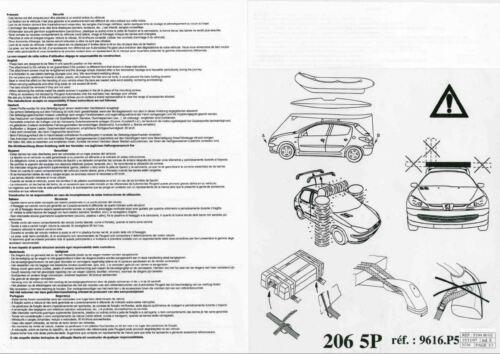 5 Türer Dachträger Grund Last Träger 9616P5 NEU Original Peugeot 206 206