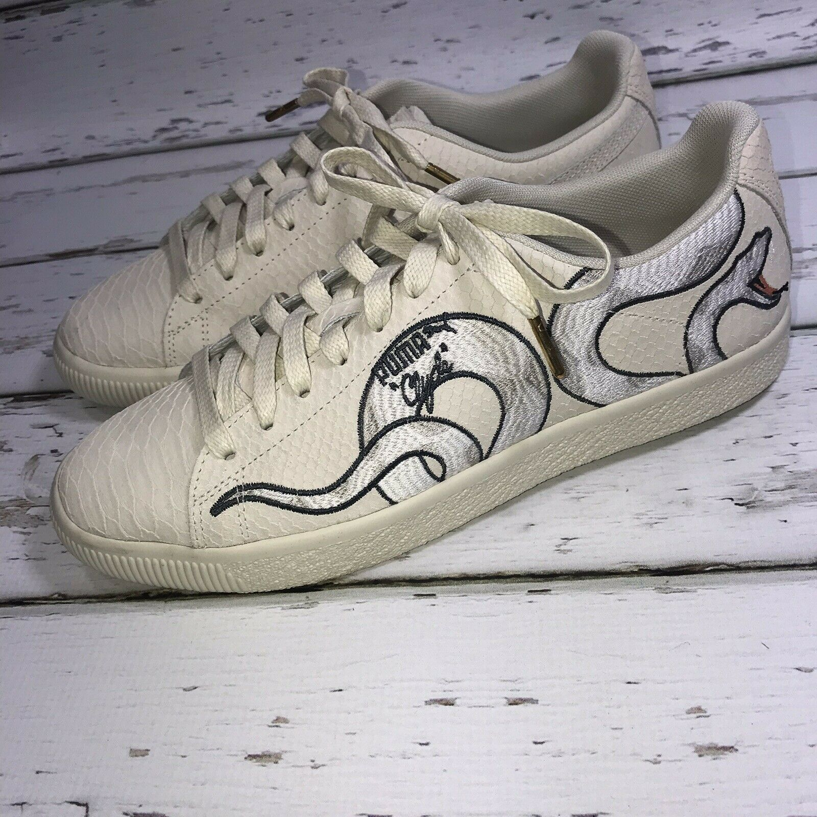 Puma Clyde Collaboration Size 9.5 Mens Snake Detail Cream shoes