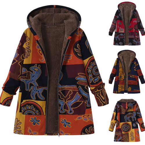 Plus Size Ladies Jacket Hooded Zip Printed Fleece Lined Coat Winter Warm Outwear