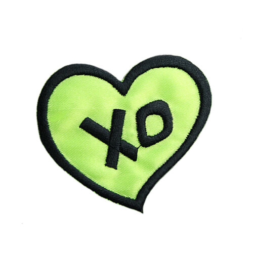 """New 2.5/"""" X2.25/"""" Black Embroidred XO on Neon Green Fabric  Iron on Motifs Patches"""