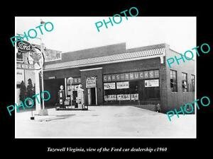 OLD-LARGE-HISTORIC-PHOTO-OF-TAZEWELL-VIRGINIA-THE-FORD-CAR-DEALERSHIP-c1960
