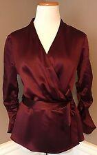 Nearly New Pristine Lafayette 148 6 Silk Burgundy V-neck Wrap Blouse W Tie Waist