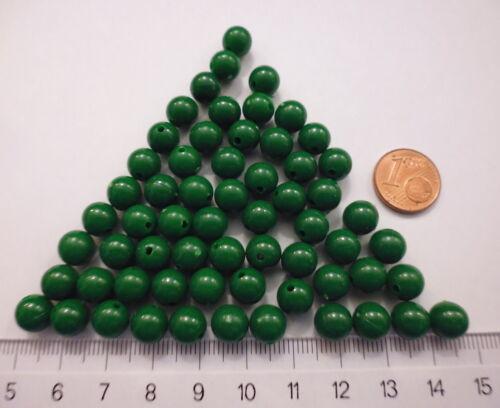 Plastikperlen 60 Stück Kunststoffperlen Kugel 8 mm grün opak