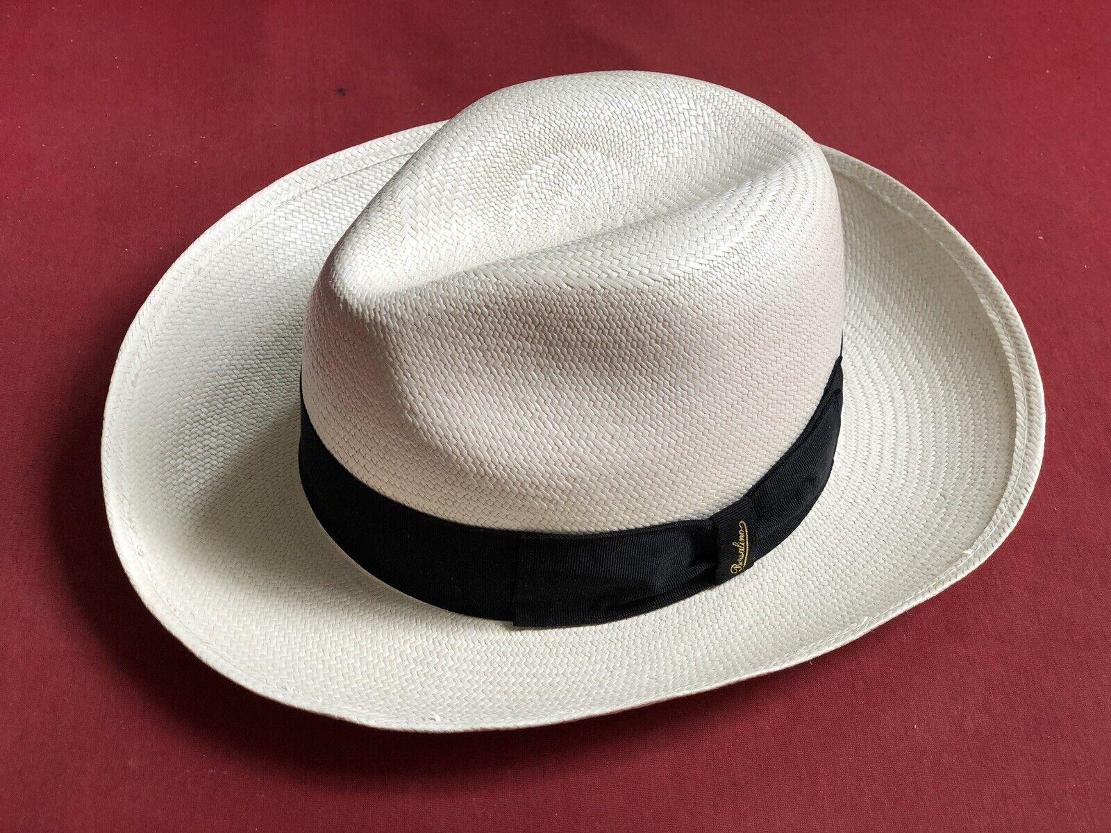 BORSALINO Herren Strohhut Panamahut breite Krempe Gr.58 mens straw hat traveller