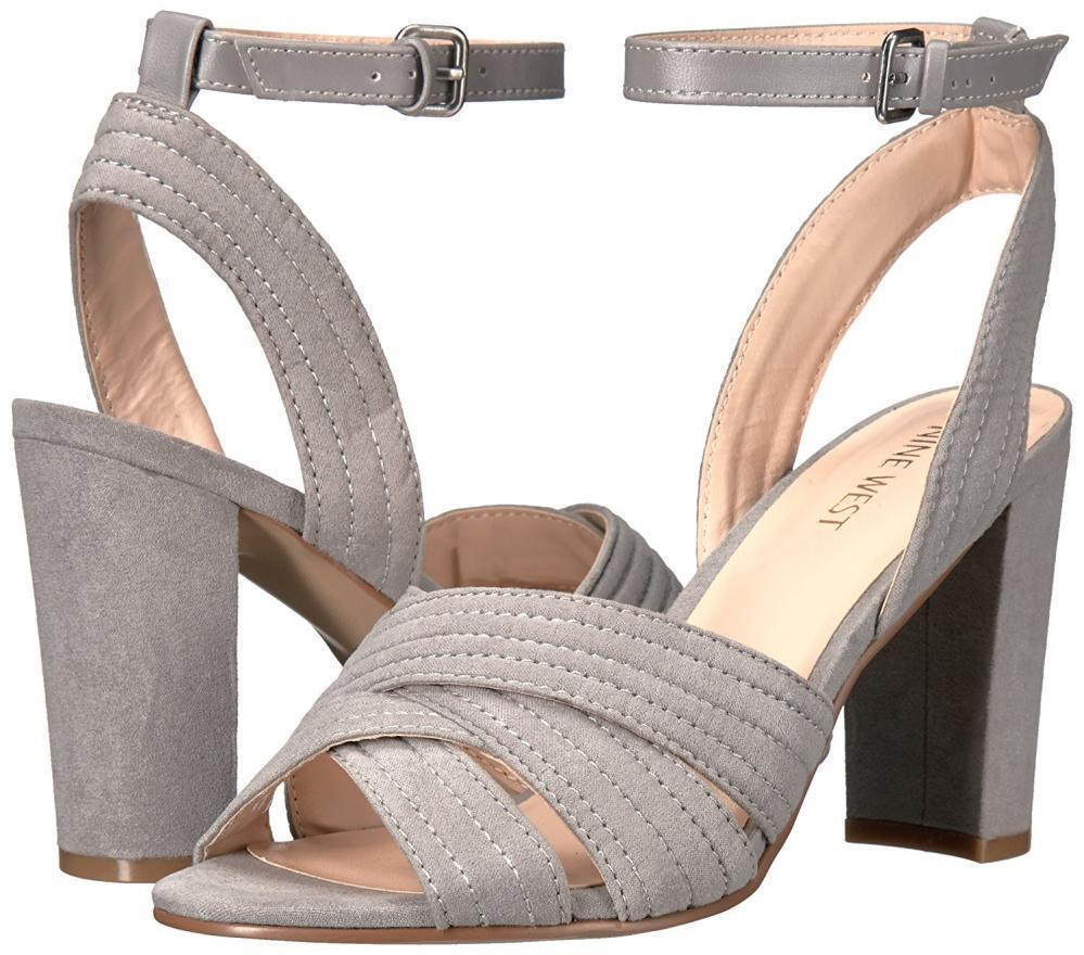 NINE WEST Niaria 10 Gray Grau Cross Sandales Suede Party Block Heel Floor Sample