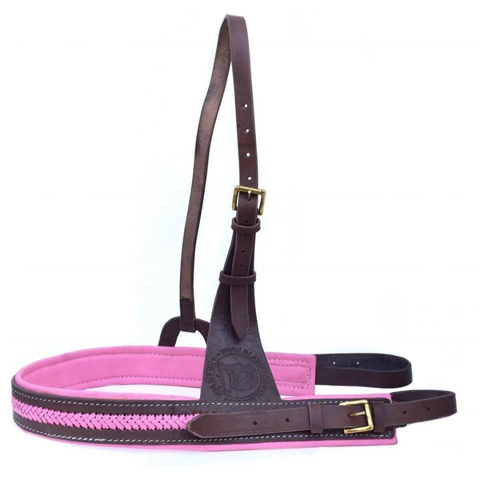 Polo Breastplate Breast Collar 100% Buffalo Leather Brown Padded Pink