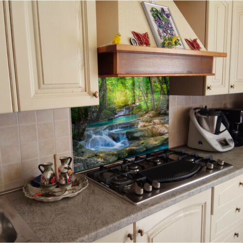 Kitchen Tempered Glass Splashback Protection waterfall nature green