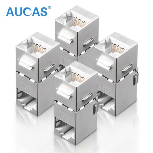 4x RJ45 Coupler Cat7 FTP Wall Outlet Plate Modular 8P8C Cable Extender 90 degree