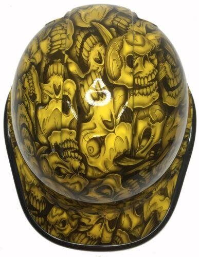 Hydro Dipped Hard Hat Ridgeline Cap Style Custom Yellow Insanity Skulls