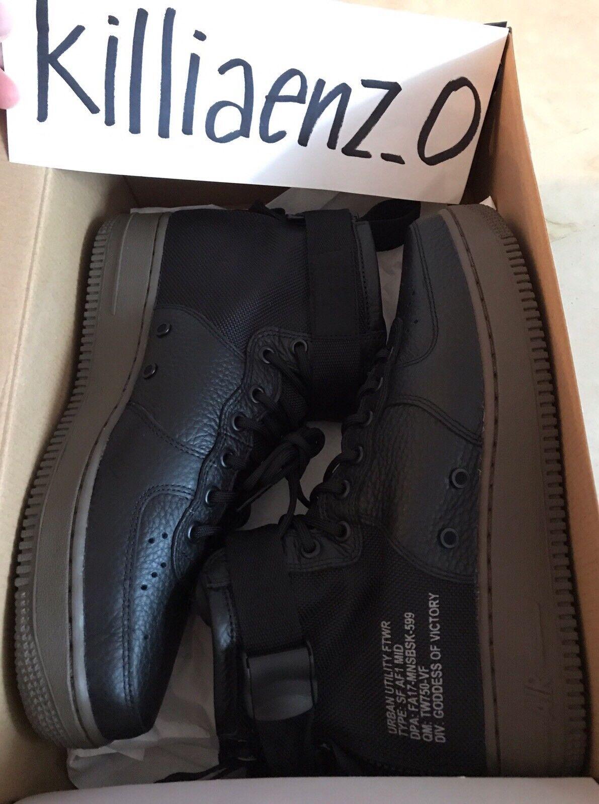 NIB Nike SF AF1 Air Force 1 Mid 917753-002 Black Dark Hazel Mens US 9