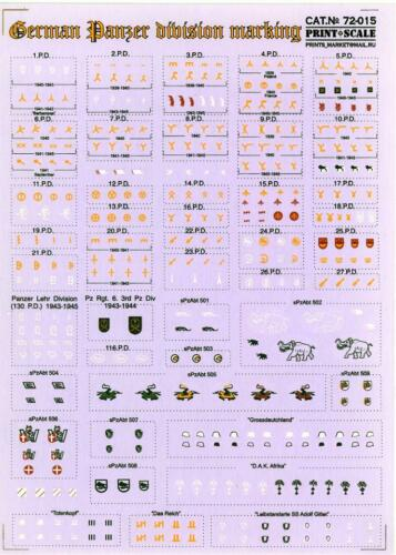 Print Scale Decals 1//72 GERMAN PANZER DIVISION MARKINGS