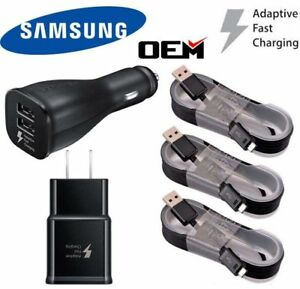 OEM-Samsung-Galaxy-Note-4-5-S6-S7-Fast-Charging-Dual-USB-Car-amp-Wall-Charger-Cable