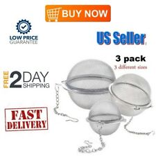 3 Pieces Stainless Steel Mesh Tea Ball Infuser Strainers Filters Diffuser NEW US