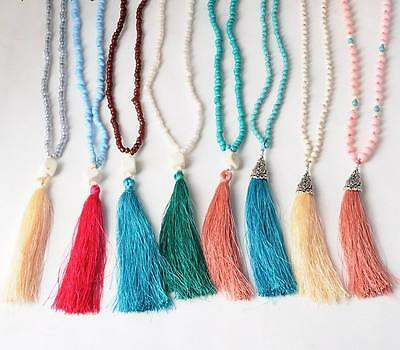 Bohemian Jewelry Beaded Chain Long Necklace Silk Tassel Pendant Necklace 9 Color