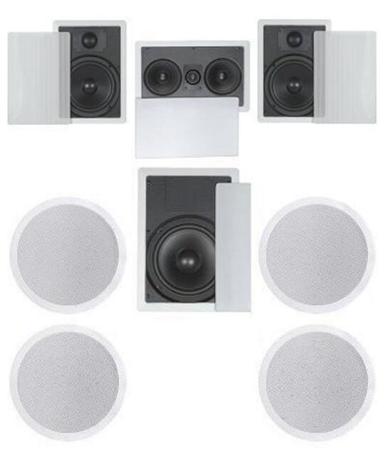 Flush In Wall Ceiling Speakers 7 1 Home Theater Surround 6 5 2way 8 Sub