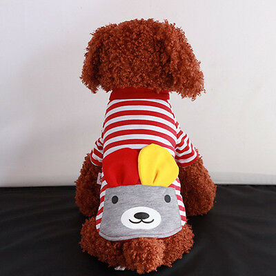Pet Red Striped Bear T-shirt Sweater Puppy Dog Cat Fashion Clothes Halloween