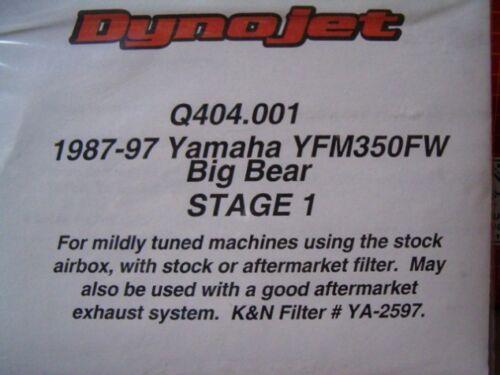 "Yamaha YFM350FW Big Bear /""Quad Works/"" Jet Kit $127 NEW"