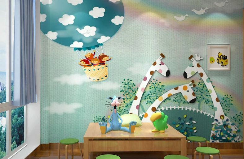 3D Griaffe Monkey Paradise Wallpaper Decal Decor Home Kids Nursery Mural  Home