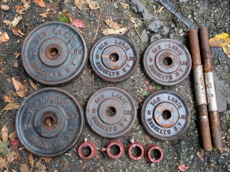 Dan Lurie Adjustable Dumbbells  Plates 2x10,4x5; pair bars, 4 collars Brooklyn