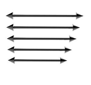 Negro-andamio-Industrial-Barra-Piercing-Barbell-Oreja-Acero-quirurgico-con-conos