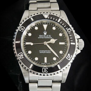 Rolex-Submariner-Stainless-Steel-Watch-Black-Dial-Bezel-Mens-No-Date-Sub-14060
