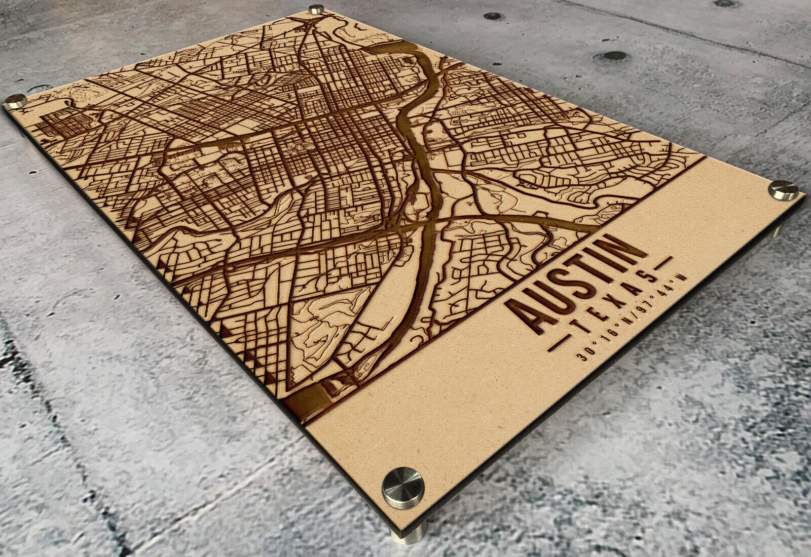 Laser Engraved Austin Map Etched on 1 2  Wood - TX Stadt Straße Home Decor Texas