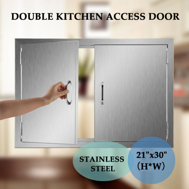 """H*W Outdoor Kitchen Stainless Steel Access BBQ Double Doors 21/""""30/"""""""