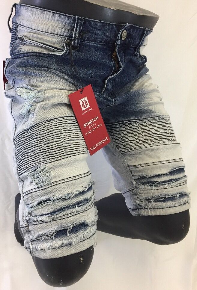 Mens JEAN SHORTS VICTORIOUS blueE ACID WASH DESTROYED RIPS Stretch Fabric DS2011