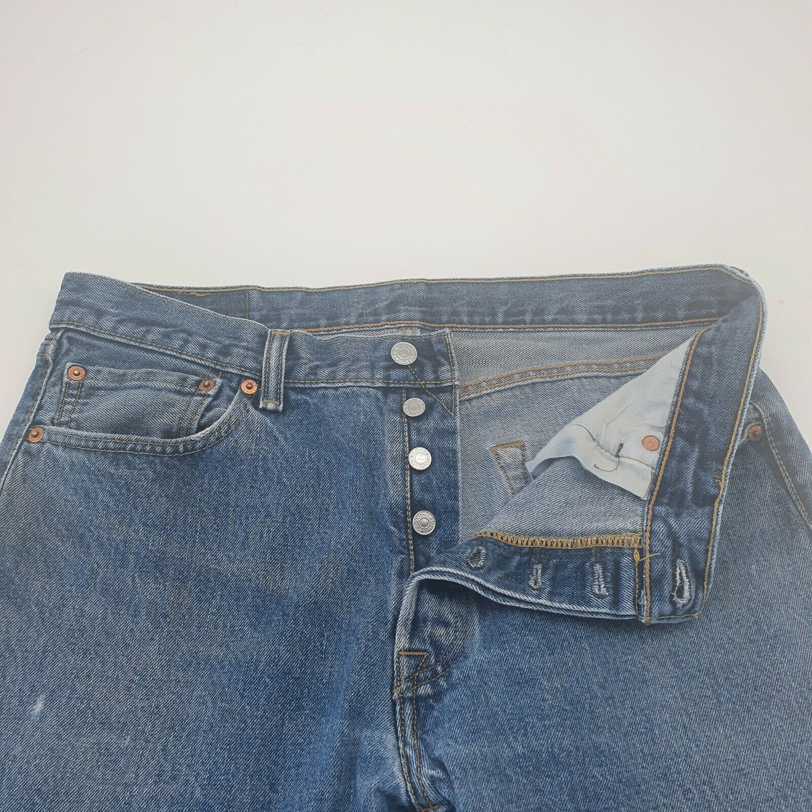 Levis 501 Distressed Jeans Button Fly Light Wash… - image 7