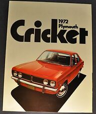 1972 Plymouth Cricket Sales Brochure Folder Excellent Original 72
