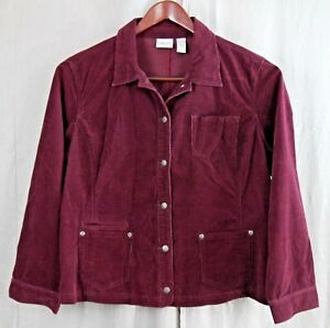 Chico-039-s-Women-039-s-Maroon-Long-Sleeve-Button-Front-Corduroy-Shirt-Blouse-Size-3-XL