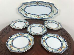 Vintage-Art-Deco-Handpainted-Small-Sandwich-Nibbles-Tray-and-5-Nibbles-Plates