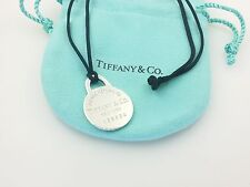Tiffany & Co Return Sterling Silver Circle Charm Silk Cord Necklace 16 in