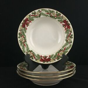 Set-of-4-Rim-Soup-Bowls-by-American-Atelier-Santa-Holly-and-Berries-Christmas