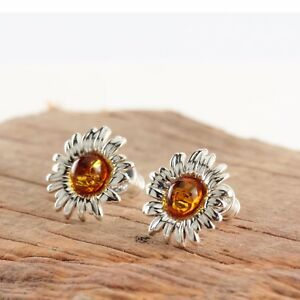 Honey Amber Sterling Silver Sunflower Stud Earrings yUjjwHAAh