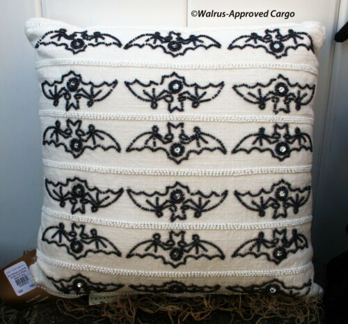 NOTHING WELCOMES FALL LIKE FLYING MAMMALS! POTTERY BARN BEADED BAT PILLOW NWT