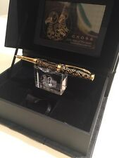 """CROSS """"YEAR OF THE GOAT"""" GOLD & BLACK LACQUER FOUNTAIN PEN-18K M Nib-NOS"""