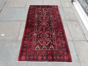 Vintage Traditional Hand Made Oriental Blue Red Wool Short Runner Rug 172x94cm