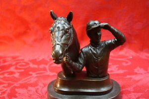Art Deco Solid Bronze Sculpture Statue Figure Jockey Horse Bust