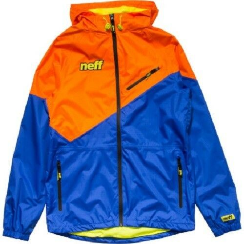 Mens Neff Throwback Poncho Wind Rain Snow Ski Snowboard Jacket Orange Blue
