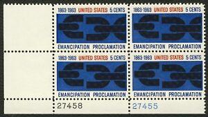 #1233 5c Emancipation Proclamación,Plt Negro [ 27455/58 Ll ],Nuevo Any 4 = Libre