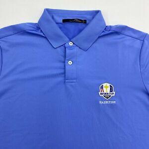 RLX Ralph Lauren Ryder Cup 2016 Polo Shirt Men's L Short Sleeve Blue Poly Blend