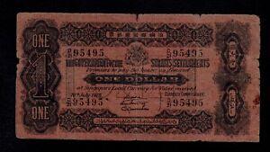 STRAITS-SETTLEMENTS-1-DOLLAR-1916-PICK-1c-VG-F
